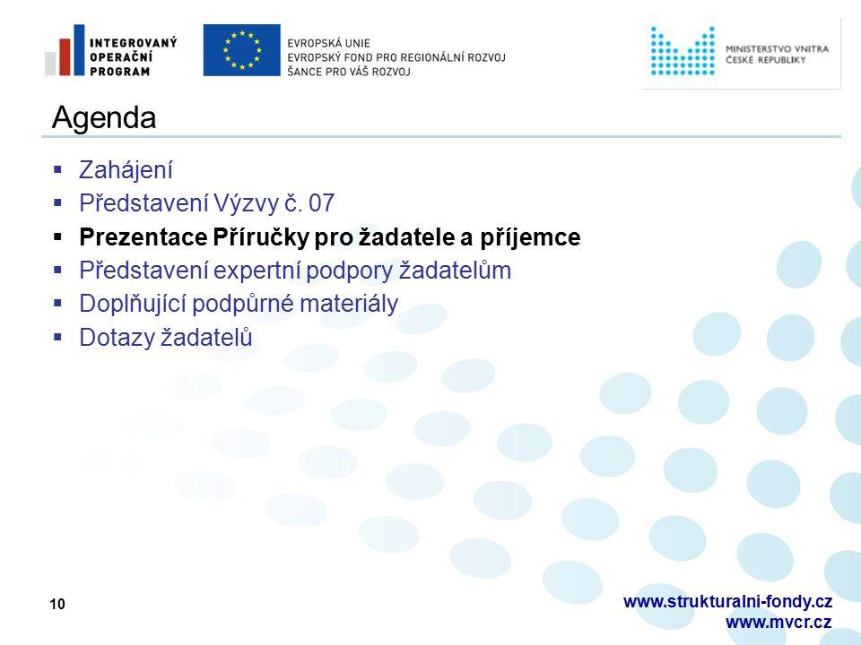 10 Agenda  Zahájení  Představení Výzvy č. 07  Prezentace Příručky pro žadatele a příjemce  Představení expertní podpory žadatelům  Doplňující pod