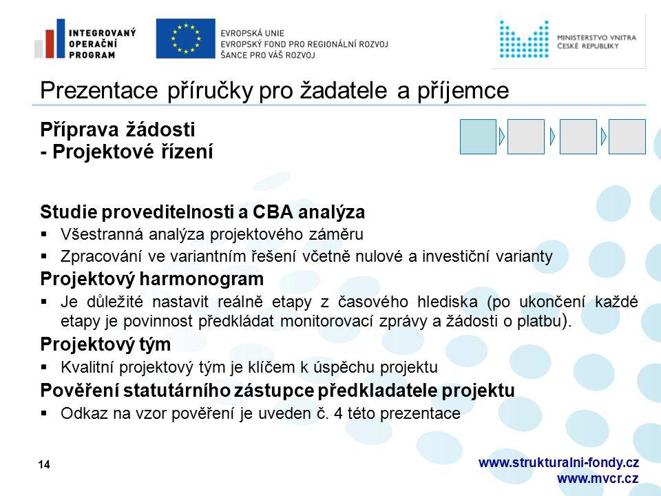14 Prezentace příručky pro žadatele a příjemce Příprava žádosti - Projektové řízení Studie proveditelnosti a CBA analýza  Všestranná analýza projekto