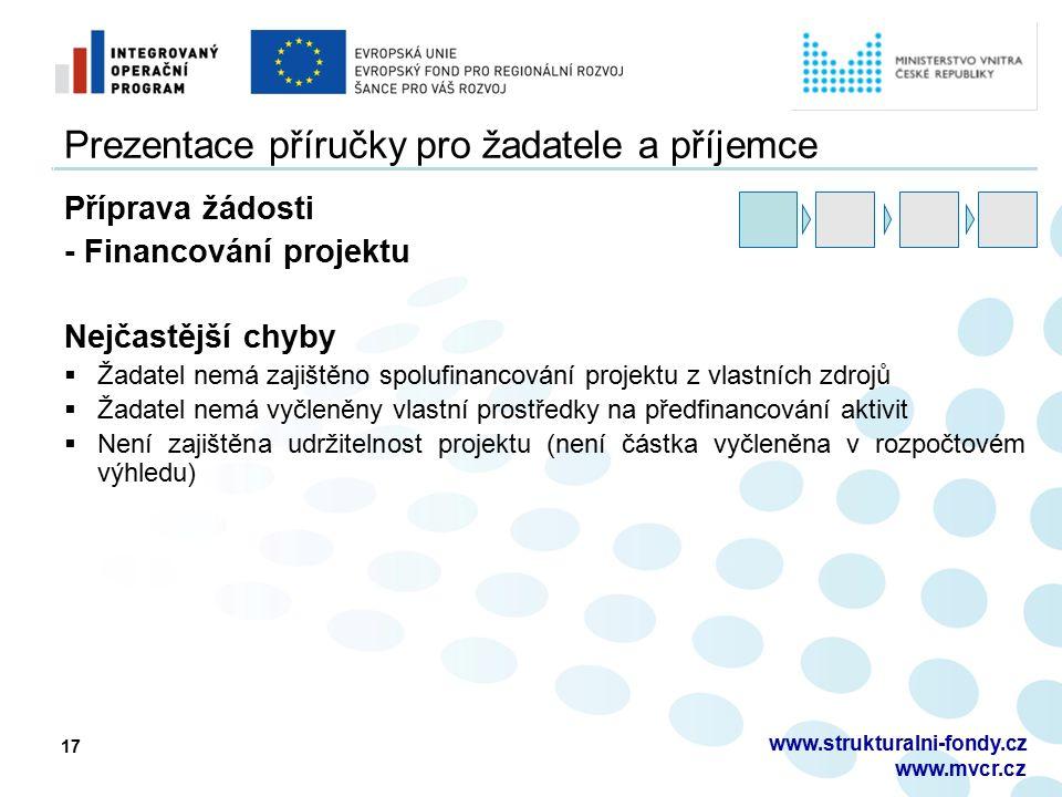 17 Prezentace příručky pro žadatele a příjemce Příprava žádosti - Financování projektu Nejčastější chyby  Žadatel nemá zajištěno spolufinancování projektu z vlastních zdrojů  Žadatel nemá vyčleněny vlastní prostředky na předfinancování aktivit  Není zajištěna udržitelnost projektu (není částka vyčleněna v rozpočtovém výhledu) www.strukturalni-fondy.cz www.mvcr.cz