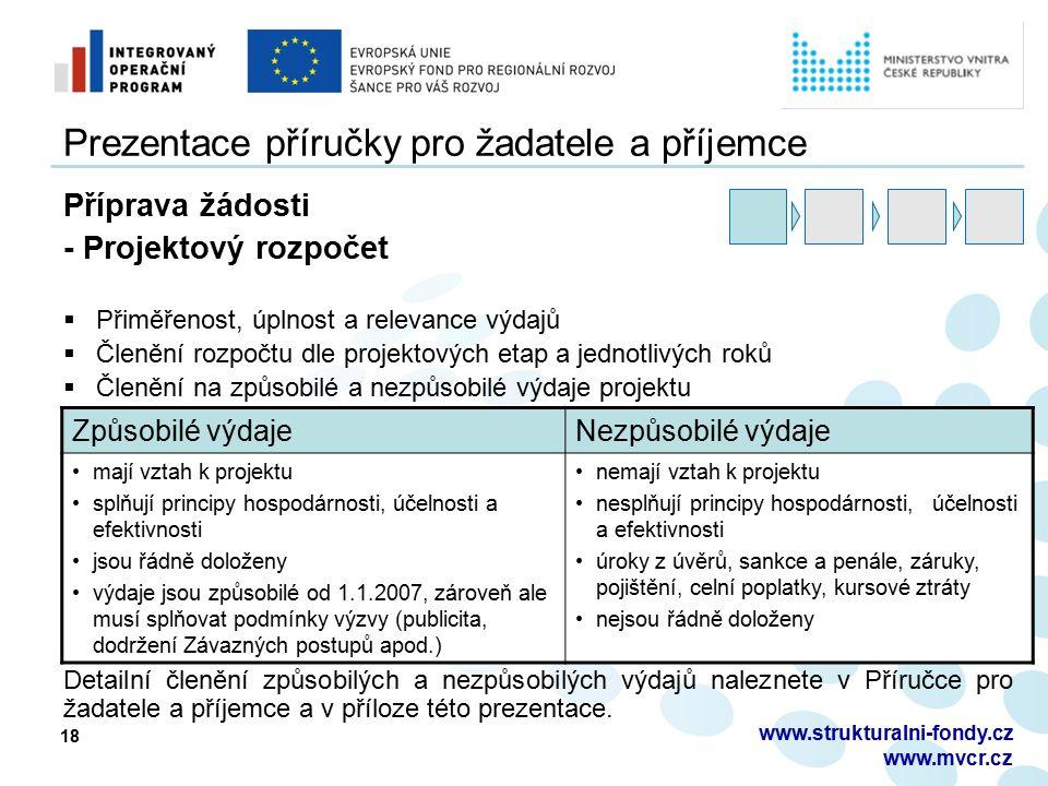 18 Prezentace příručky pro žadatele a příjemce Příprava žádosti - Projektový rozpočet  Přiměřenost, úplnost a relevance výdajů  Členění rozpočtu dle