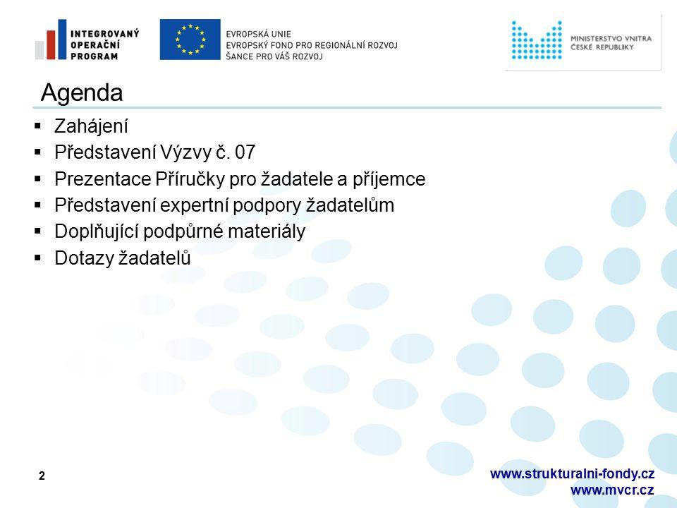 2 Agenda  Zahájení  Představení Výzvy č. 07  Prezentace Příručky pro žadatele a příjemce  Představení expertní podpory žadatelům  Doplňující podp