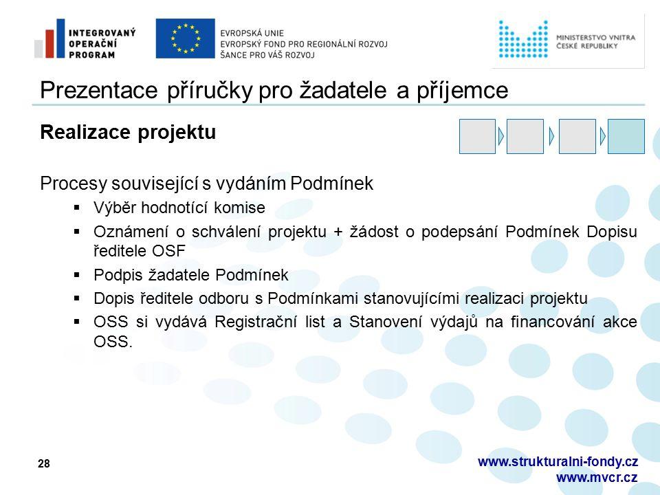 28 Prezentace příručky pro žadatele a příjemce Realizace projektu Procesy související s vydáním Podmínek  Výběr hodnotící komise  Oznámení o schvále