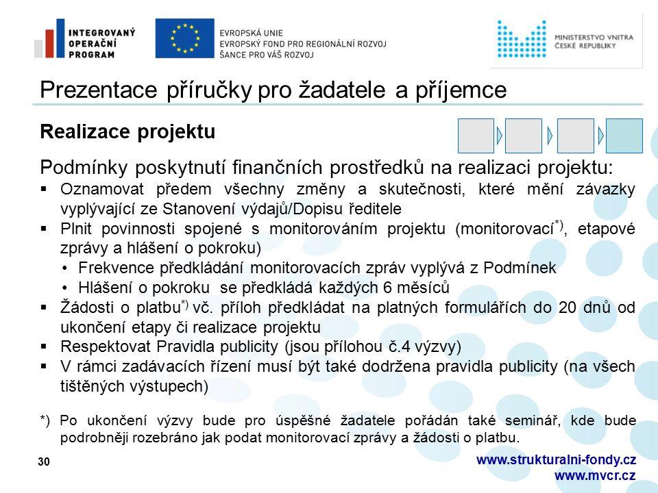 30 Prezentace příručky pro žadatele a příjemce Realizace projektu Podmínky poskytnutí finančních prostředků na realizaci projektu:  Oznamovat předem