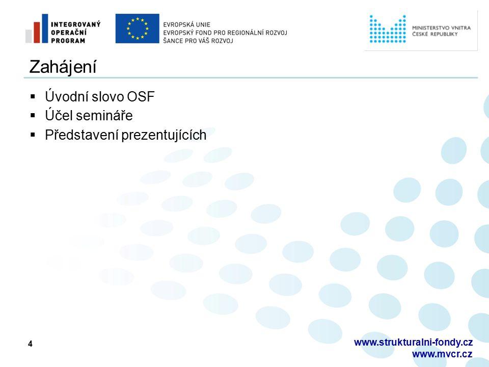 4 Zahájení  Úvodní slovo OSF  Účel semináře  Představení prezentujících www.strukturalni-fondy.cz www.mvcr.cz