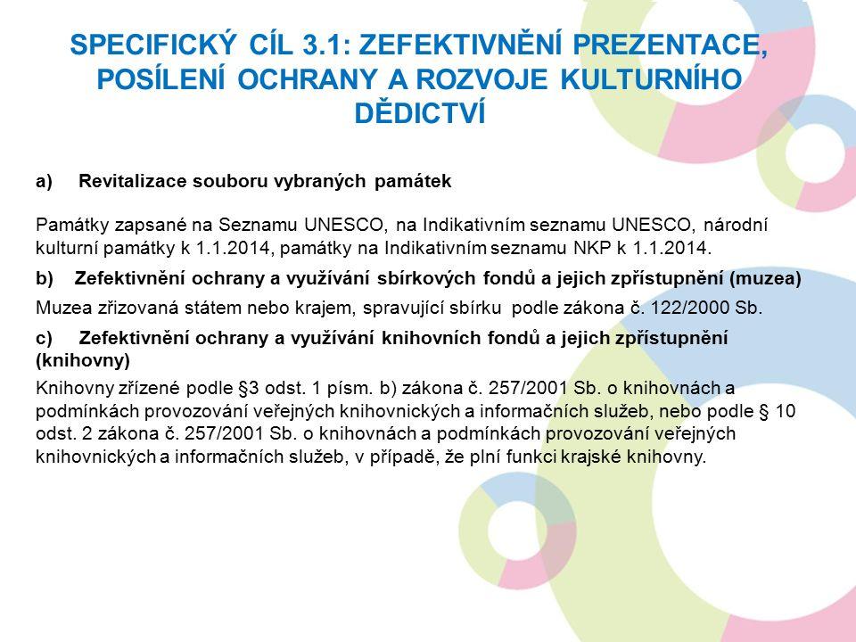 a)Revitalizace souboru vybraných památek Památky zapsané na Seznamu UNESCO, na Indikativním seznamu UNESCO, národní kulturní památky k 1.1.2014, památky na Indikativním seznamu NKP k 1.1.2014.