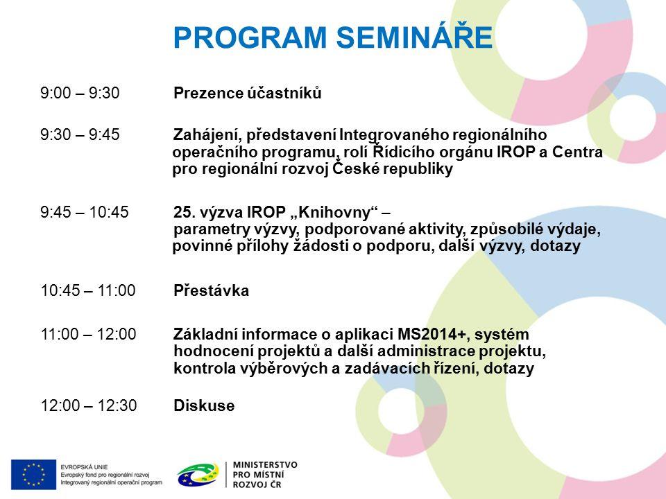 PROGRAM SEMINÁŘE 9:00 – 9:30Prezence účastníků 9:30 – 9:45Zahájení, představení Integrovaného regionálního operačního programu, rolí Řídicího orgánu IROP a Centra pro regionální rozvoj České republiky 9:45 – 10:4525.