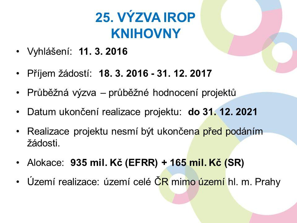 Vyhlášení: 11. 3. 2016 Příjem žádostí: 18. 3. 2016 - 31. 12. 2017 Průběžná výzva – průběžné hodnocení projektů Datum ukončení realizace projektu: do 3