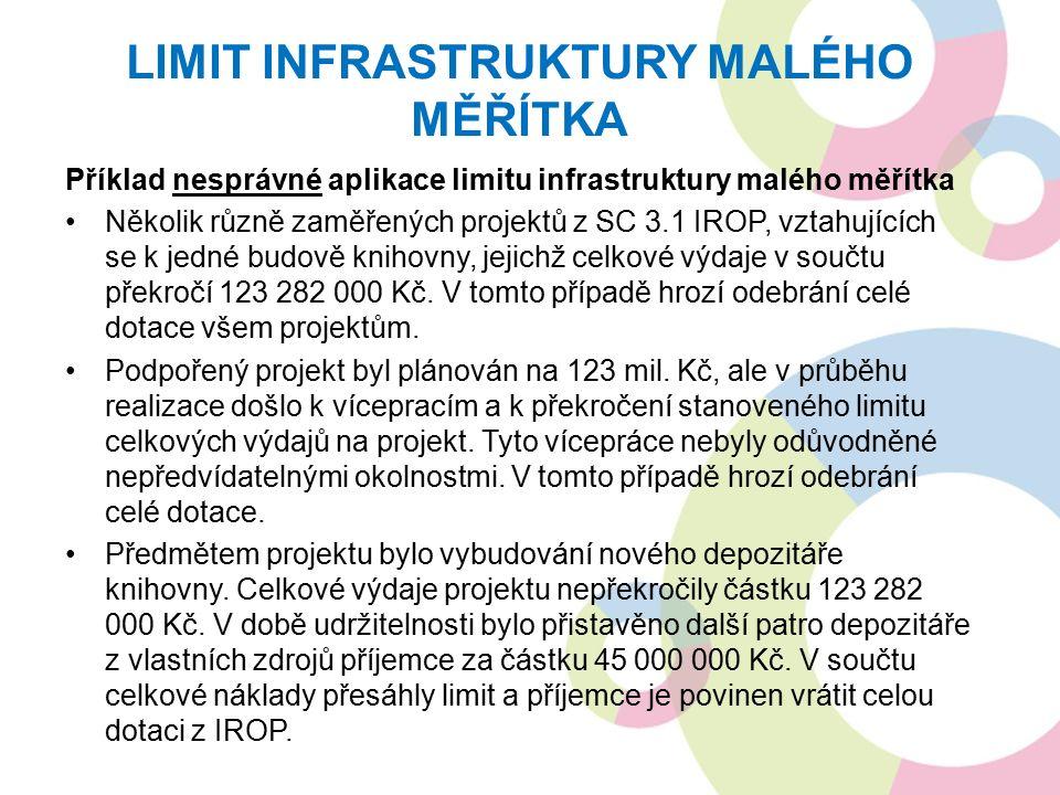 Příklad nesprávné aplikace limitu infrastruktury malého měřítka Několik různě zaměřených projektů z SC 3.1 IROP, vztahujících se k jedné budově knihovny, jejichž celkové výdaje v součtu překročí 123 282 000 Kč.