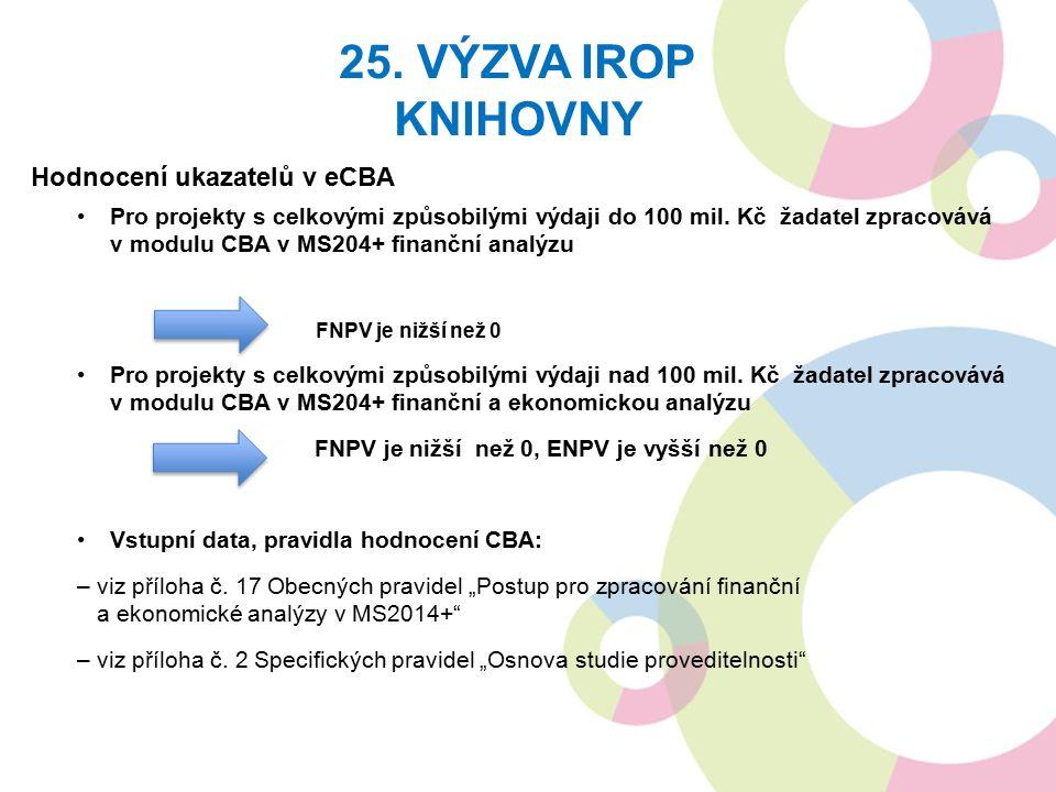 Hodnocení ukazatelů v eCBA Pro projekty s celkovými způsobilými výdaji do 100 mil. Kč žadatel zpracovává v modulu CBA v MS204+ finanční analýzu FNPV j