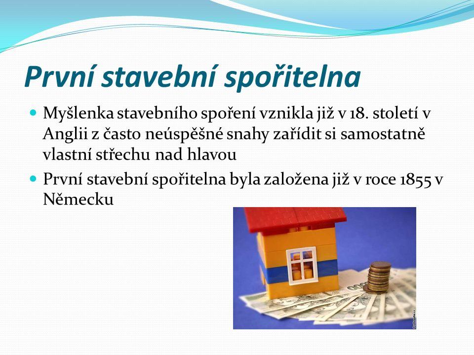 První stavební spořitelna Myšlenka stavebního spoření vznikla již v 18. století v Anglii z často neúspěšné snahy zařídit si samostatně vlastní střechu