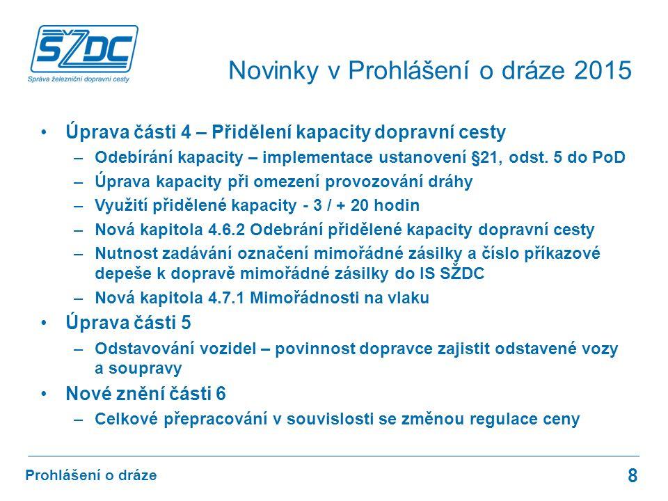 Úprava části 4 – Přidělení kapacity dopravní cesty –Odebírání kapacity – implementace ustanovení §21, odst.