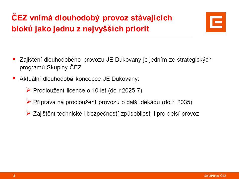 3  Zajištění dlouhodobého provozu JE Dukovany je jedním ze strategických programů Skupiny ČEZ  Aktuální dlouhodobá koncepce JE Dukovany:  Prodlouže