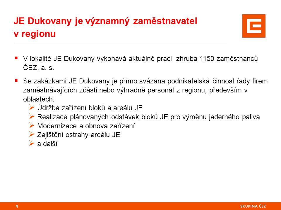 4  V lokalitě JE Dukovany vykonává aktuálně práci zhruba 1150 zaměstnanců ČEZ, a. s.  Se zakázkami JE Dukovany je přímo svázána podnikatelská činnos