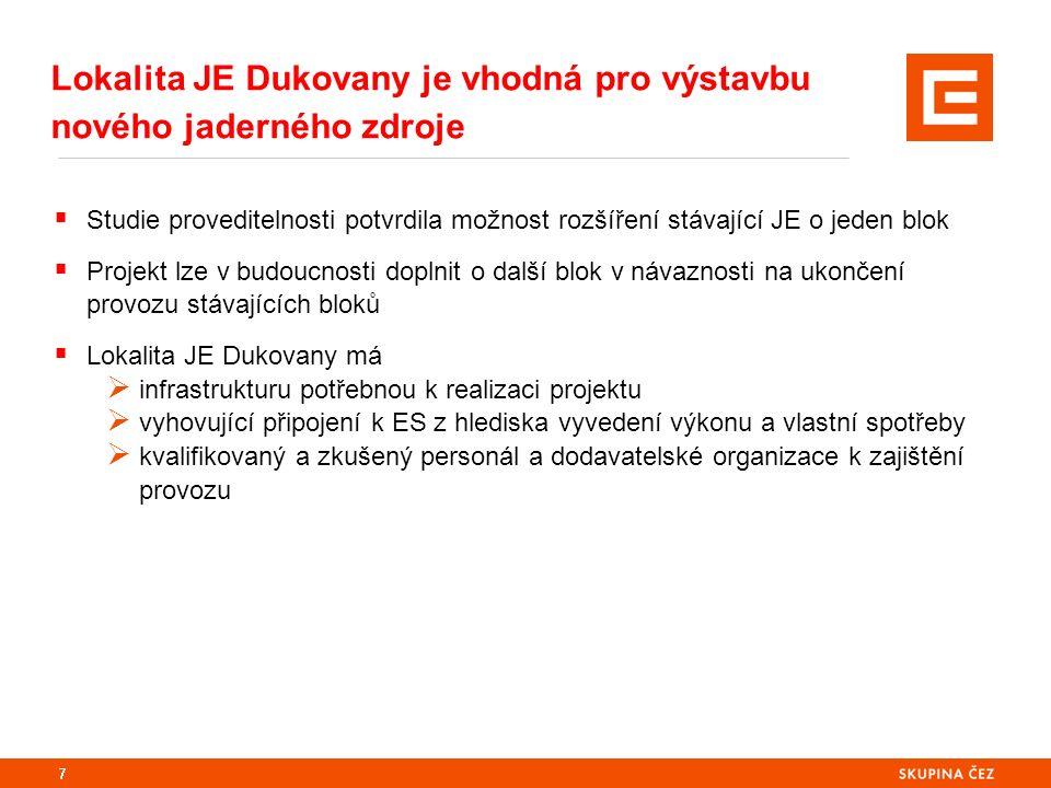 8  Do roku 2016 probíhá příprava podkladů nutných k zahájení procesu EIA, výběru dodavatele a pro budoucí povolovací procesy  Reálný termín uvedení dalšího bloku JE Dukovany do provozu je nejdříve v roce 2035  Proces EIA  Výběr dodavatele  Povolovací procesy v souladu s AZ  Získání územního rozhodnutí a stavebního povolení  Vlastní výstavba a uvedení do provozu Projekt rozšíření JE Dukovany o nové blok již byl zahájený