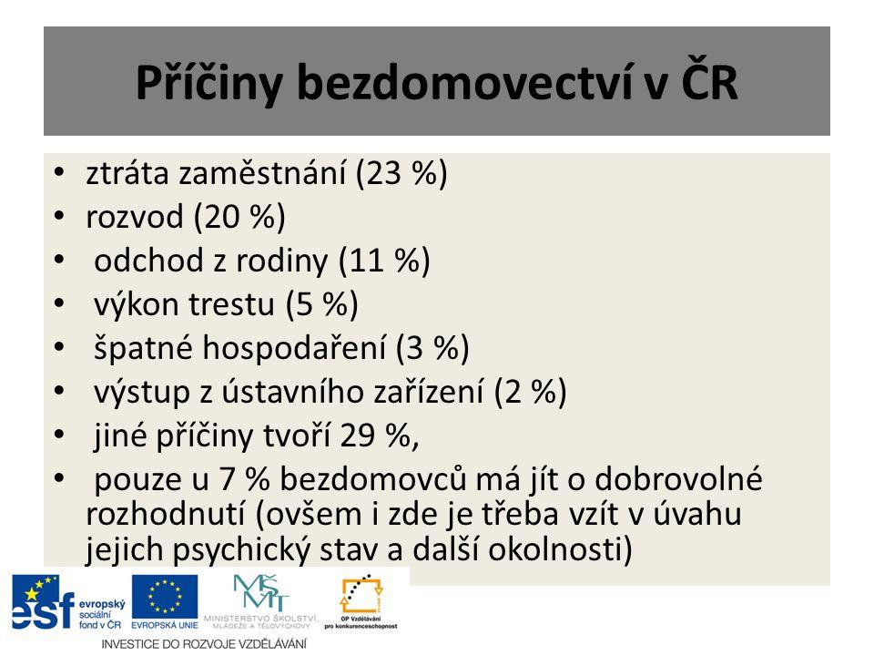 Příčiny bezdomovectví v ČR ztráta zaměstnání (23 %) rozvod (20 %) odchod z rodiny (11 %) výkon trestu (5 %) špatné hospodaření (3 %) výstup z ústavníh