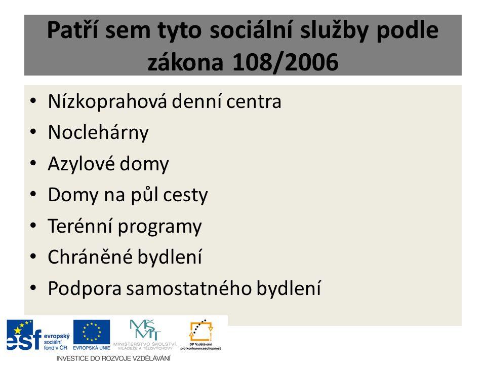 Patří sem tyto sociální služby podle zákona 108/2006 Nízkoprahová denní centra Noclehárny Azylové domy Domy na půl cesty Terénní programy Chráněné byd