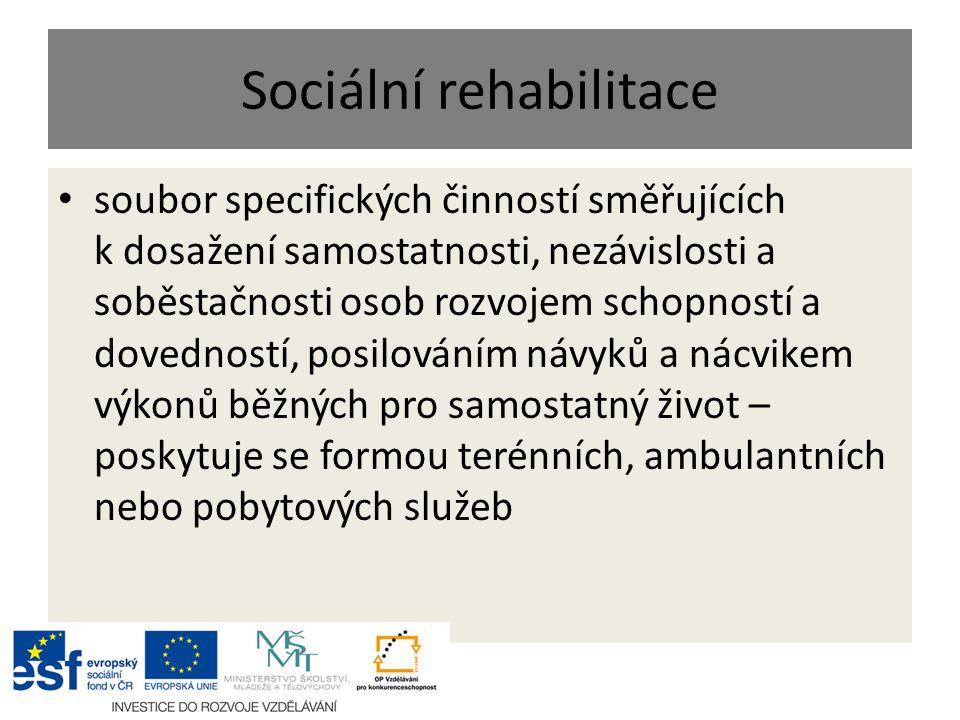 Sociální rehabilitace soubor specifických činností směřujících k dosažení samostatnosti, nezávislosti a soběstačnosti osob rozvojem schopností a doved