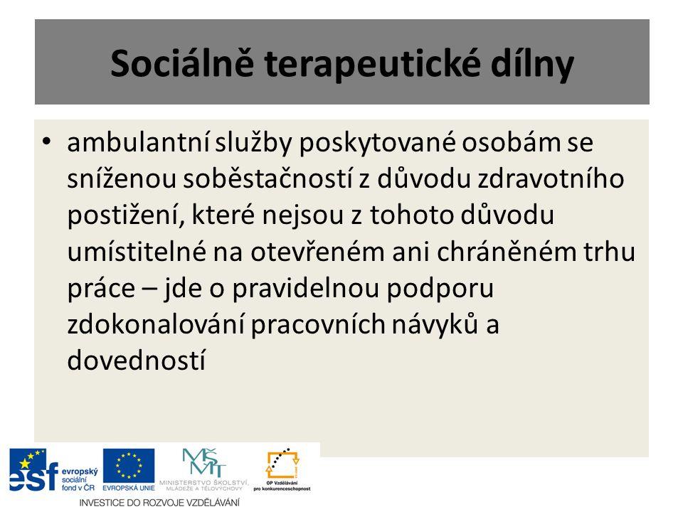 Sociálně terapeutické dílny ambulantní služby poskytované osobám se sníženou soběstačností z důvodu zdravotního postižení, které nejsou z tohoto důvod