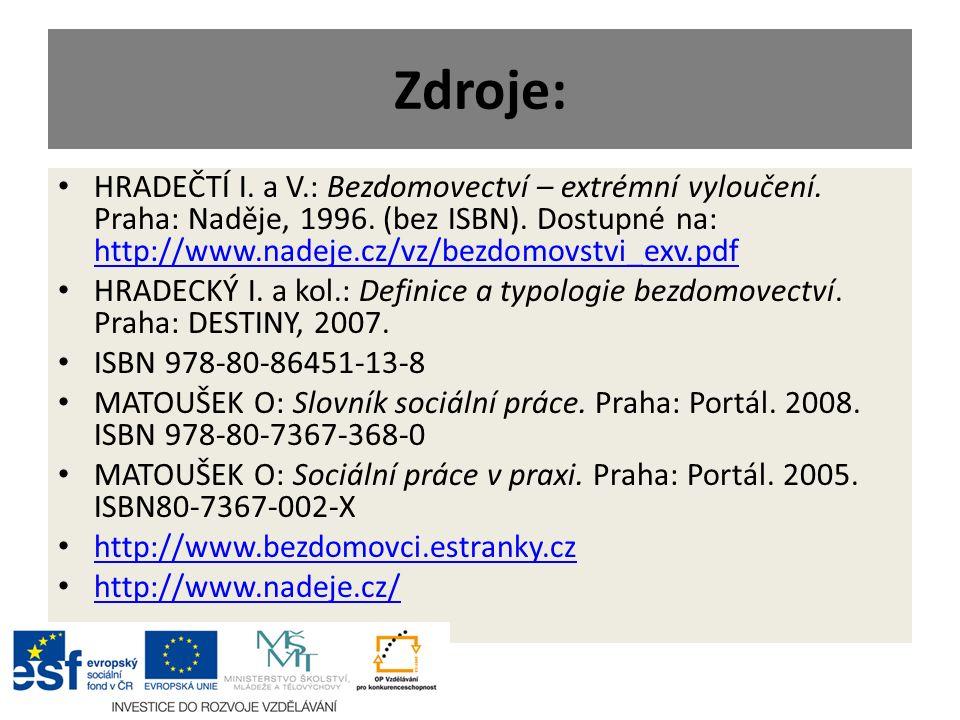 Zdroje: HRADEČTÍ I. a V.: Bezdomovectví – extrémní vyloučení. Praha: Naděje, 1996. (bez ISBN). Dostupné na: http://www.nadeje.cz/vz/bezdomovstvi_exv.p