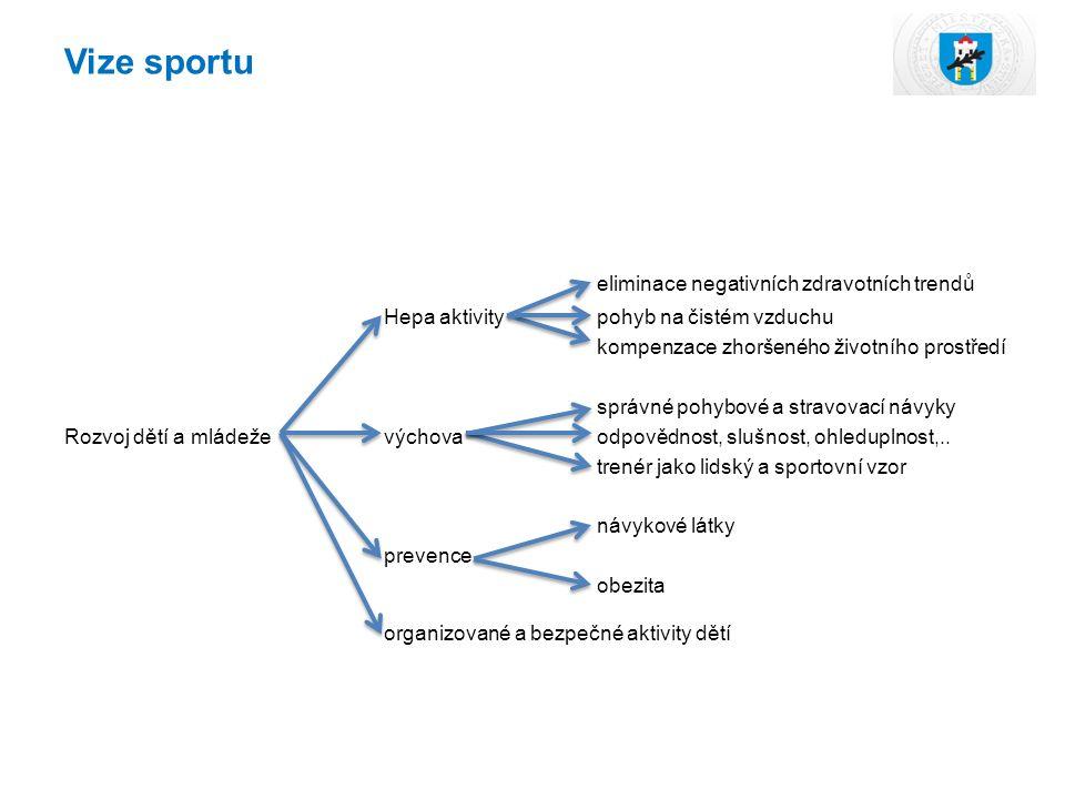 Vize sportu eliminace negativních zdravotních trendů Hepa aktivitypohyb na čistém vzduchu kompenzace zhoršeného životního prostředí správné pohybové a stravovací návyky Rozvoj dětí a mládeževýchovaodpovědnost, slušnost, ohleduplnost,..