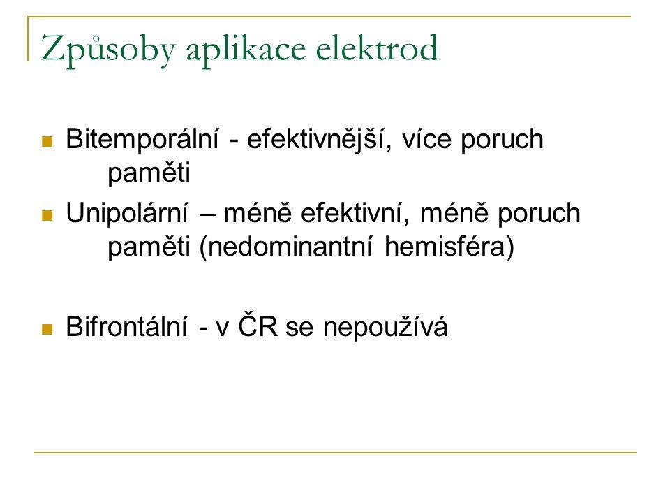 Způsoby aplikace elektrod Bitemporální - efektivnější, více poruch paměti Unipolární – méně efektivní, méně poruch paměti (nedominantní hemisféra) Bif