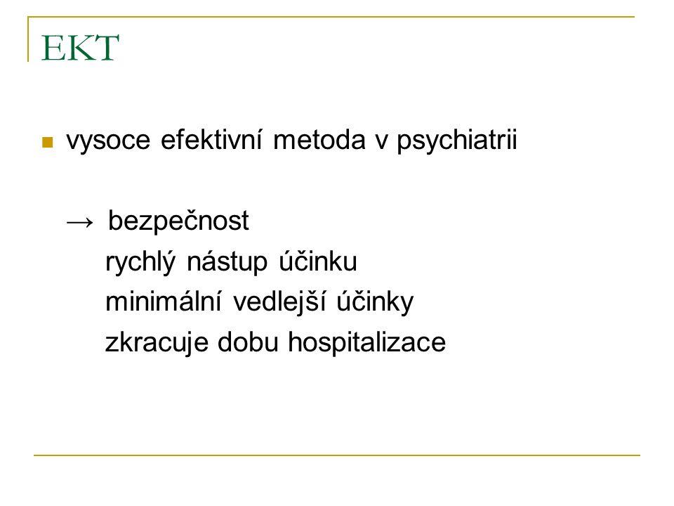 EKT vysoce efektivní metoda v psychiatrii →bezpečnost rychlý nástup účinku minimální vedlejší účinky zkracuje dobu hospitalizace