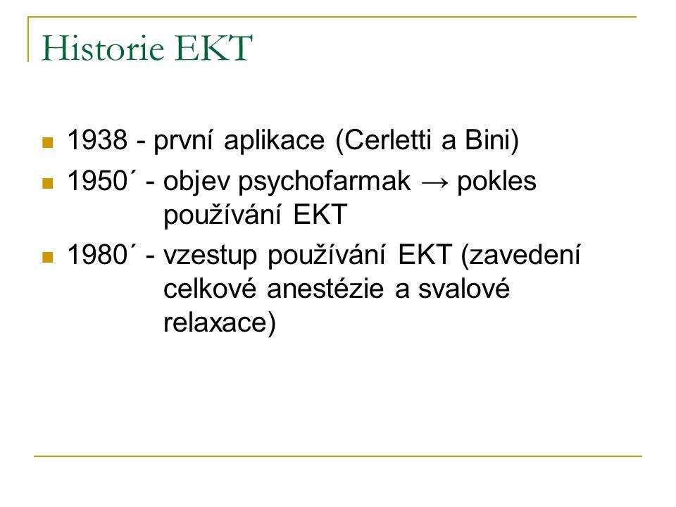 Indikace EKT primární - nutnost rychlého účinku, jiné terapie riskantnější, špatný efekt farmakoterapie+dobrá odezva na EKT v anamnéze sekundární - selhání předchozí terapie, zhoršení stavu pacienta, vedlejší účinky terapie převažují efektivitu