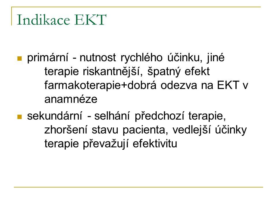 Indikace EKT Depresivní poruchy - těžké deprese (melancholie) zejména s bludy, halucinacemi, odmítáním potravy nebo sebevražedným jednáním Mánie Schizoafektivní psychózy Schizofrenie Letální katatonie (léčba pouze EKT) a neuroleptický maligní syndrom Těžká obsedantně-kompulzivní porucha Některé neurologické choroby (Parkinsonova choroba, tardivní dyskinézy a těžká epilepsie)