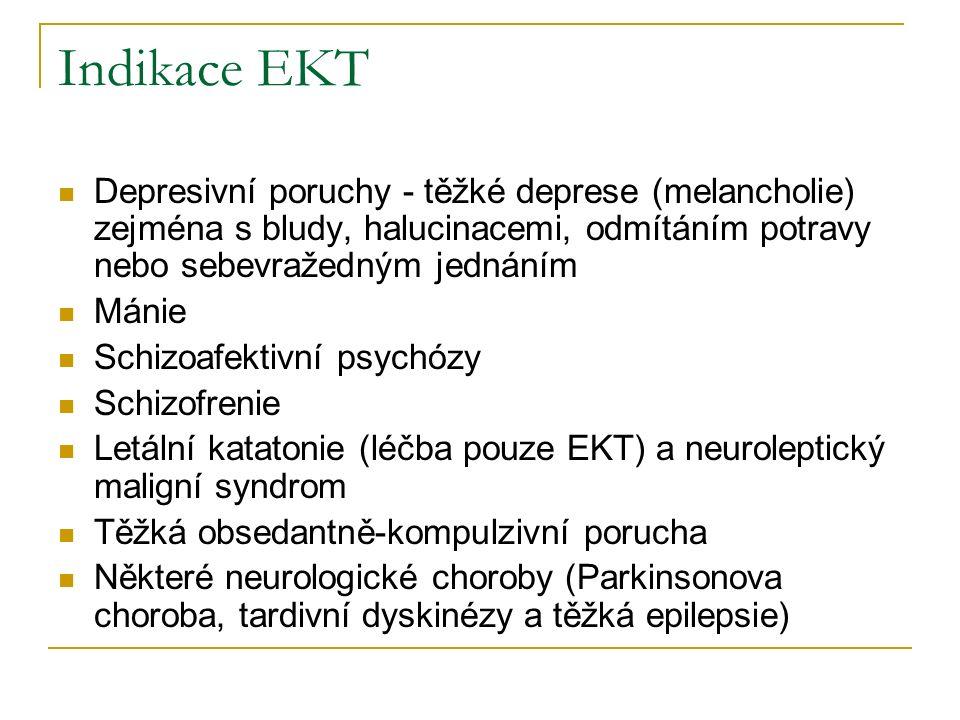 Indikace EKT Depresivní poruchy - těžké deprese (melancholie) zejména s bludy, halucinacemi, odmítáním potravy nebo sebevražedným jednáním Mánie Schiz