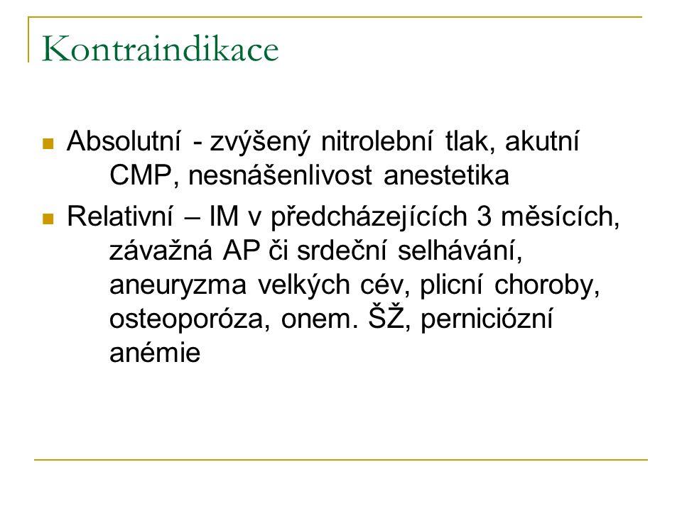 Kontraindikace Absolutní - zvýšený nitrolební tlak, akutní CMP, nesnášenlivost anestetika Relativní – IM v předcházejících 3 měsících, závažná AP či s