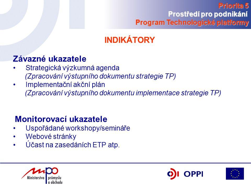 INDIKÁTORY Závazné ukazatele Strategická výzkumná agenda (Zpracování výstupního dokumentu strategie TP) Implementační akční plán (Zpracování výstupního dokumentu implementace strategie TP) Monitorovací ukazatele Uspořádané workshopy/semináře Webové stránky Účast na zasedáních ETP atp.