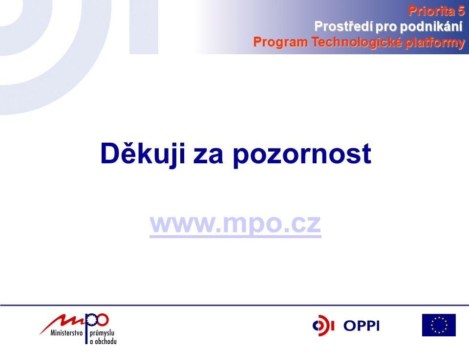 Děkuji za pozornost www.mpo.cz Priorita 5 Prostředí pro podnikání Program Technologické platformy