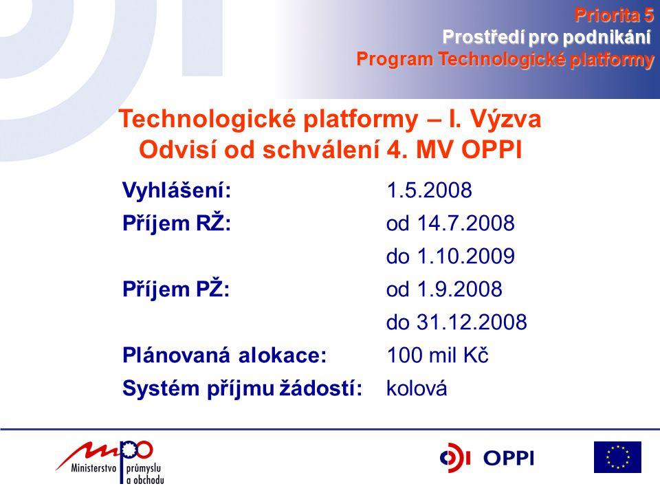 Technologické platformy – I. Výzva Odvisí od schválení 4.