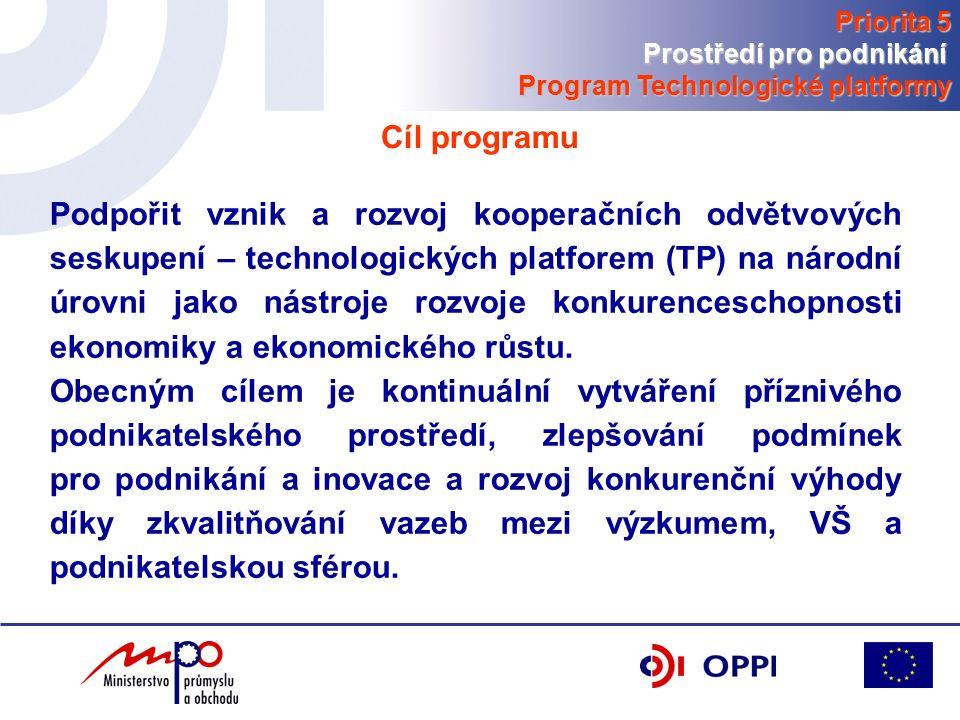 Součet bodů za část B a C je celkovým bodovým ohodnocením Projekt může získat maximálně 100 bodů Synergie s Operačním programem Výzkum a vývoj pro inovace, celkový počet bodů navýšen o příslušnou bonifikaci až 10 bodů (část D) Výběrová kriteria Priorita 5 Prostředí pro podnikání Program Technologické platformy