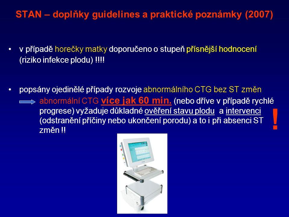 STAN – doplňky guidelines a praktické poznámky (2007) v případě horečky matky doporučeno o stupeň přísnější hodnocení (riziko infekce plodu) !!!.