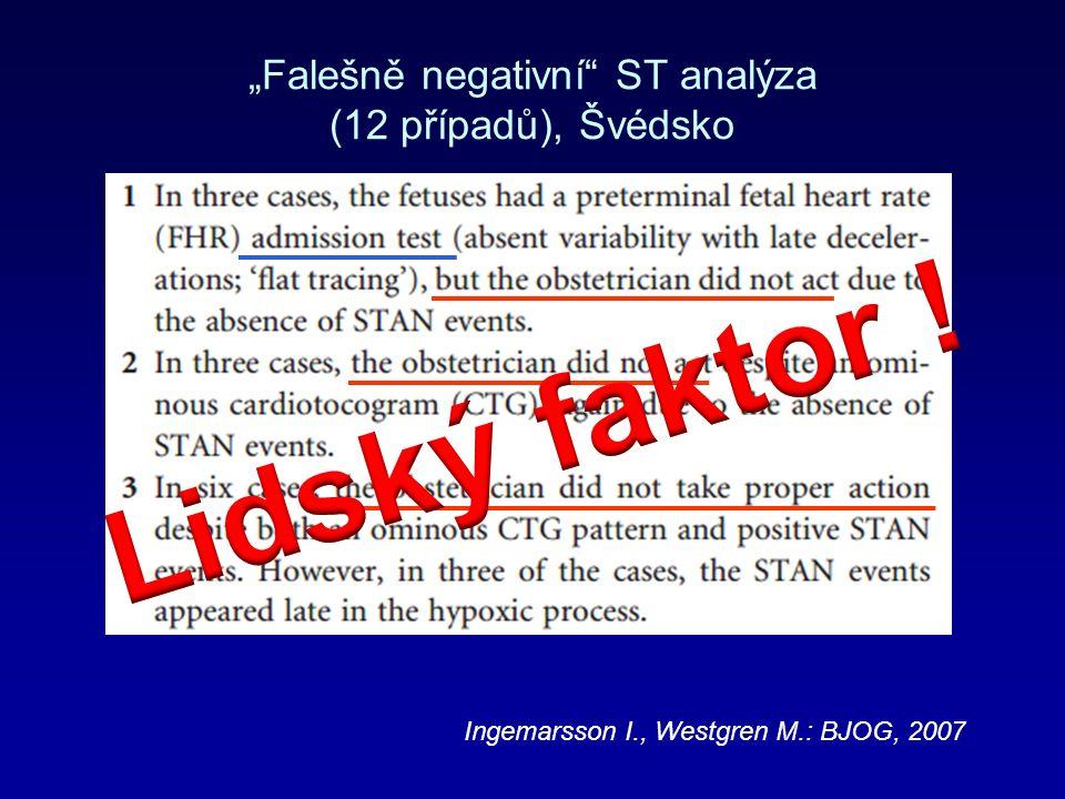 """""""Falešně negativní ST analýza (12 případů), Švédsko Ingemarsson I., Westgren M.: BJOG, 2007"""