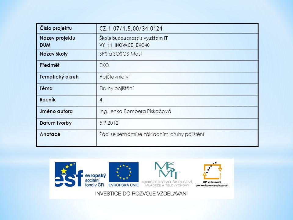 Číslo projektu CZ.1.07/1.5.00/34.0124 Název projektu DUM Škola budoucnosti s využitím IT VY_11_INOVACE_EKO40 Název školy SPŠ a SOŠGS Most Předmět EKO Tematický okruh Pojišťovnictví Téma Druhy pojištění Ročník 4.