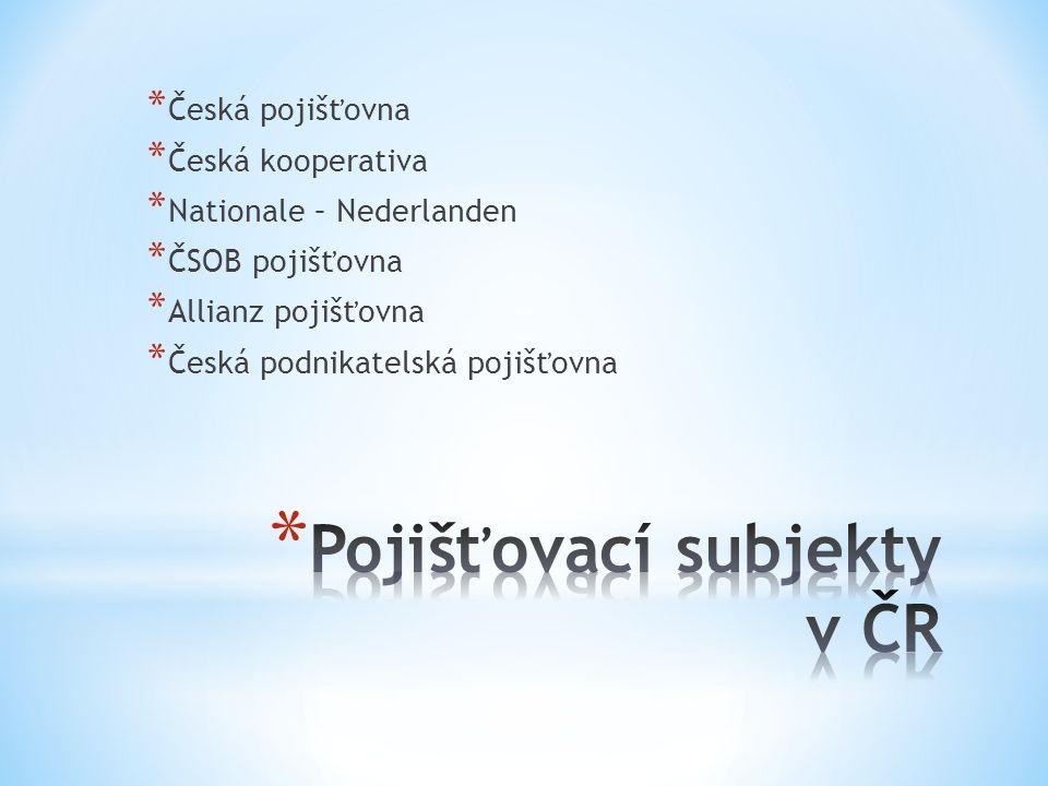 * Česká pojišťovna * Česká kooperativa * Nationale – Nederlanden * ČSOB pojišťovna * Allianz pojišťovna * Česká podnikatelská pojišťovna