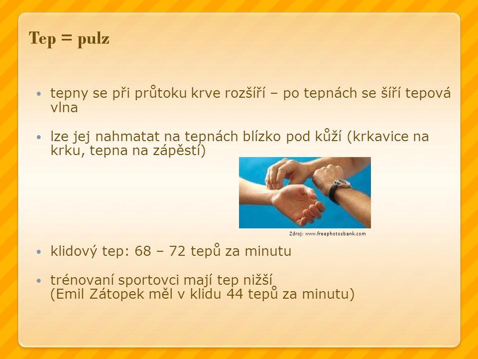 Tep = pulz tepny se při průtoku krve rozšíří – po tepnách se šíří tepová vlna lze jej nahmatat na tepnách blízko pod kůží (krkavice na krku, tepna na zápěstí) klidový tep: 68 – 72 tepů za minutu trénovaní sportovci mají tep nižší (Emil Zátopek měl v klidu 44 tepů za minutu) Zdroj: www.freephotosbank.com