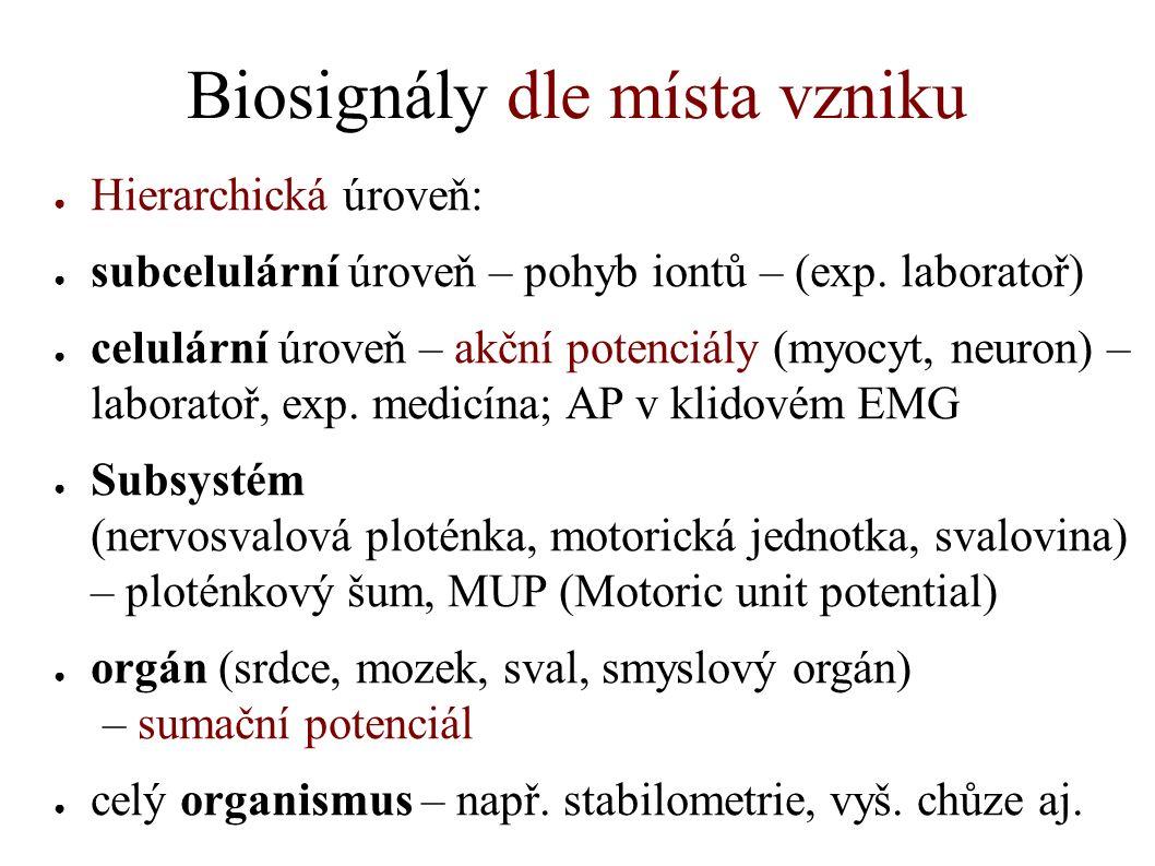 Biosignály dle místa vzniku ● Hierarchická úroveň: ● subcelulární úroveň – pohyb iontů – (exp. laboratoř) ● celulární úroveň – akční potenciály (myocy