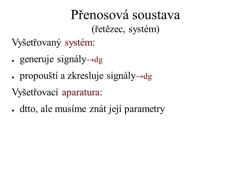 Přenosová soustava (řetězec, systém) Vyšetřovaný systém: ● generuje signály →dg ● propouští a zkresluje signály →dg Vyšetřovací aparatura: ● dtto, ale