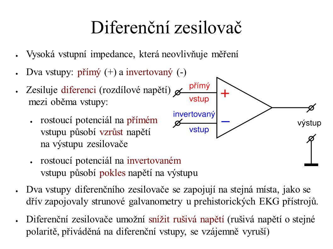 Diferenční zesilovač ● Vysoká vstupní impedance, která neovlivňuje měření ● Dva vstupy: přímý (+) a invertovaný (-) ● Zesiluje diferenci (rozdílové na