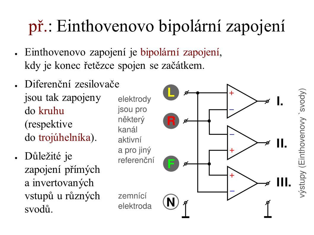 př.: Einthovenovo bipolární zapojení ● Einthovenovo zapojení je bipolární zapojení, kdy je konec řetězce spojen se začátkem. ● Diferenční zesilovače j