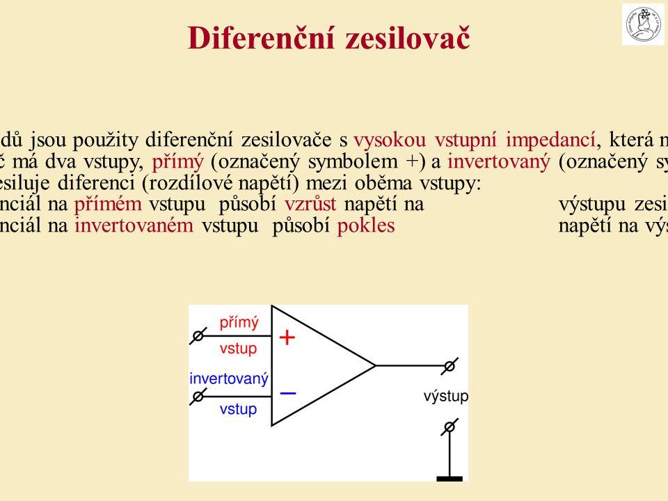 Na vstupu EKG svodů jsou použity diferenční zesilovače s vysokou vstupní impedancí, která neovlivňuje měření Diferenční zesilovač má dva vstupy, přímý (označený symbolem +) a invertovaný (označený symbolem –).