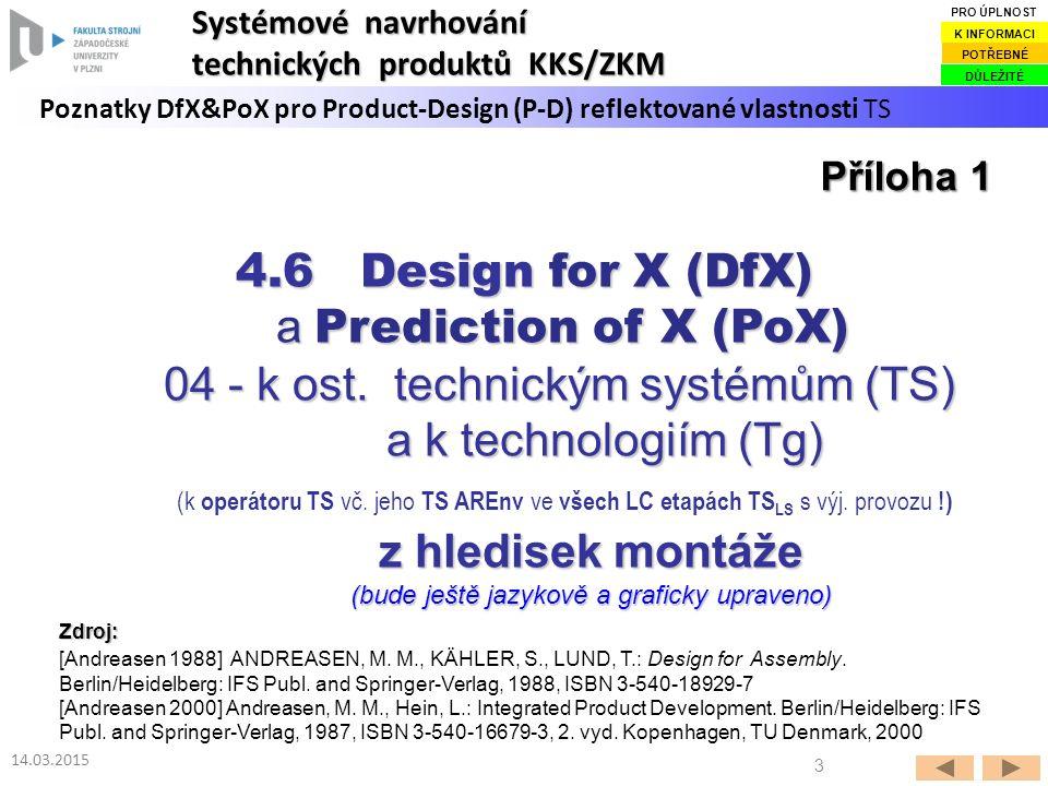 3 14.03.2015 Poznatky DfX&PoX pro Product-Design (P-D) reflektované vlastnosti TS Systémové navrhování technických produktů KKS/ZKM DŮLEŽITÉ POTŘEBNÉ
