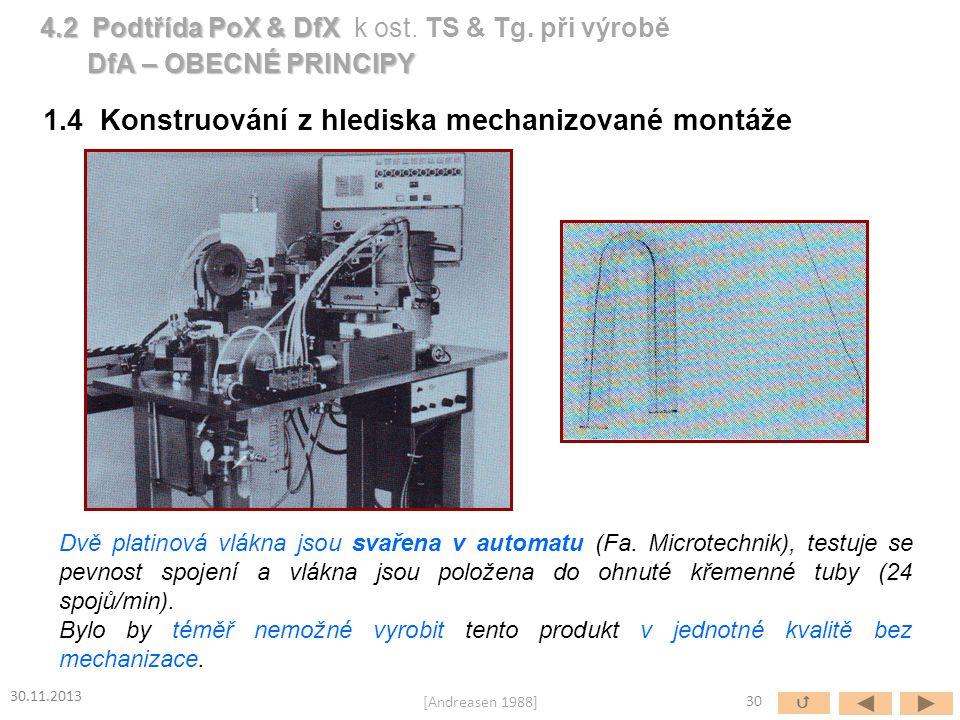 1.4 Konstruování z hlediska mechanizované montáže Dvě platinová vlákna jsou svařena v automatu (Fa. Microtechnik), testuje se pevnost spojení a vlákn