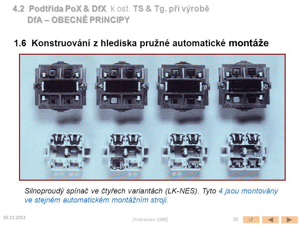 Silnoproudý spínač ve čtyřech variantách (LK-NES). Tyto 4 jsou montovány ve stejném automatickém montážním stroji. 1.6 Konstruování z hlediska pružné