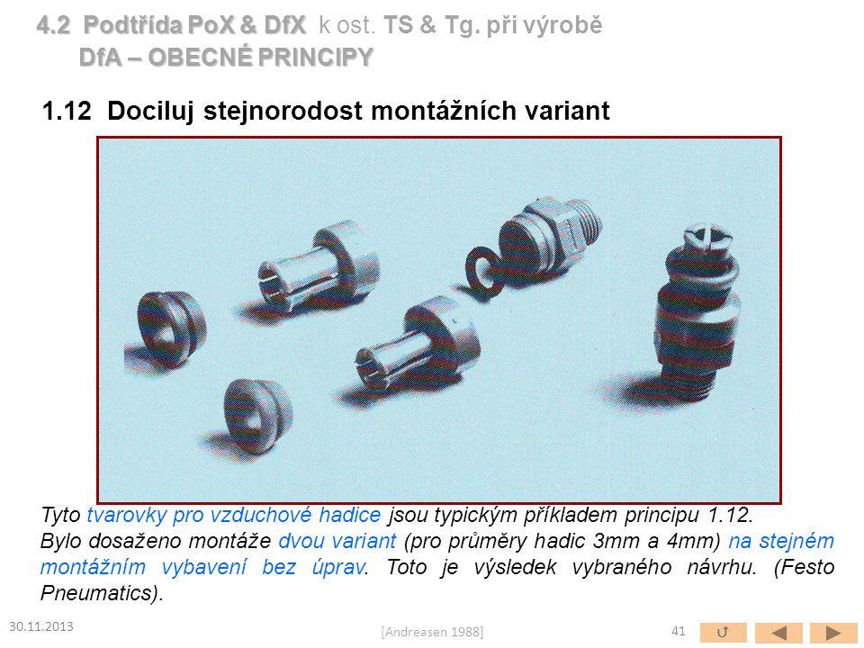 1.12 Dociluj stejnorodost montážních variant Tyto tvarovky pro vzduchové hadice jsou typickým příkladem principu 1.12. Bylo dosaženo montáže dvou vari
