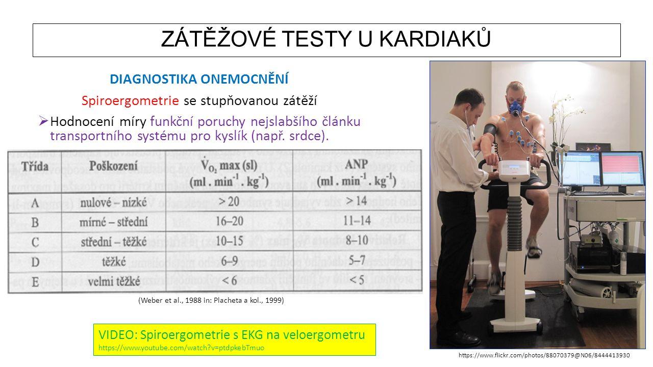 ZÁTĚŽOVÉ TESTY U KARDIAKŮ DIAGNOSTIKA ONEMOCNĚNÍ Spiroergometrie se stupňovanou zátěží  Hodnocení míry funkční poruchy nejslabšího článku transportní
