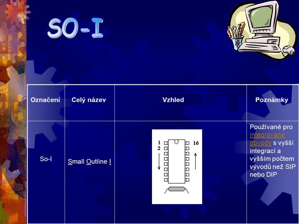 Označení Celý název Vzhled Poznámky DIL (DIL)Dual In-Line Package Pouzdra DIP se podobně jako SIP používá pro integrované obvody s nižším stupněm integrace a tím i s malým počtem vývodů integrované obvody